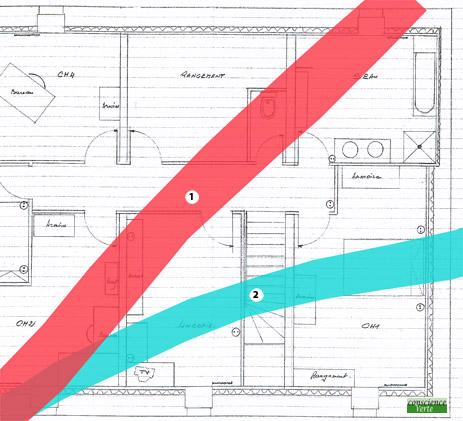 plan d'une étude géobiologique de maison avec emplacement lit à éviter
